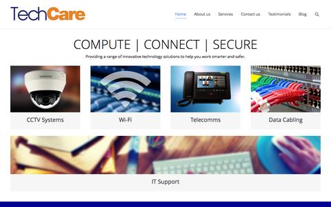 Screenshot of Home Page techcare.co.uk - TechCare   IT Solutions for Schools, Business and the Home - captured Aug. 15, 2015