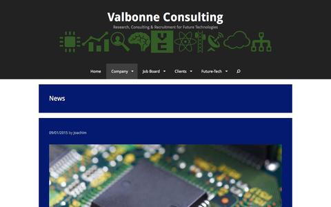 Screenshot of Press Page valbonne-consulting.com - News | Valbonne Consulting - captured Feb. 26, 2016
