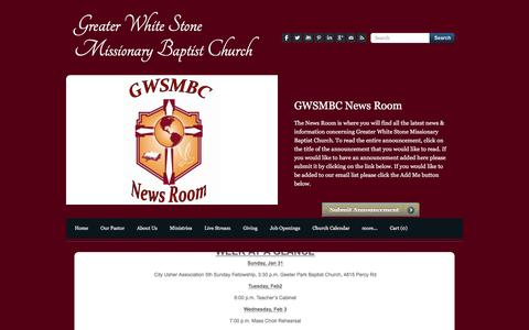Screenshot of Press Page gwsmbc.org - News Room - Greater White Stone Missionary Baptist Church - captured Feb. 1, 2016