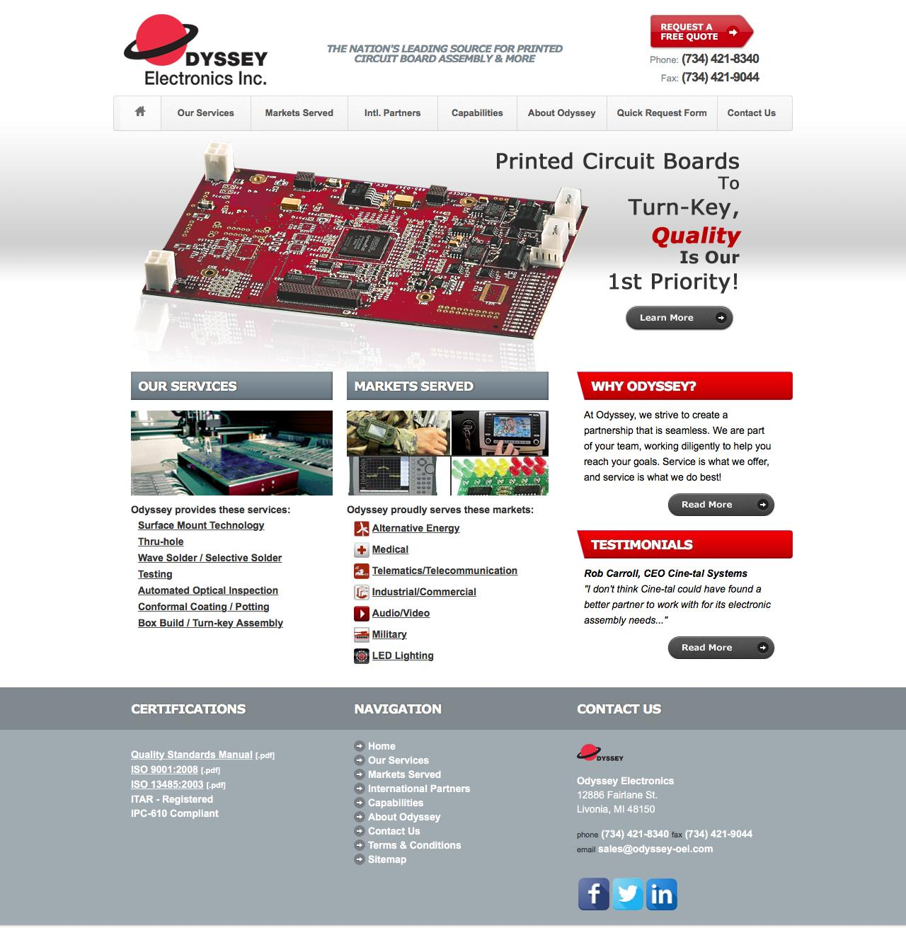 Web Design Example A Page On Odyssey Oeicom Crayon Printed Circuit Board Assembly Pcb Screenshot Of