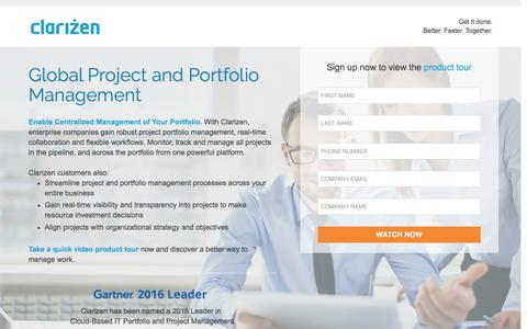 Screenshot of Landing Page clarizen.com - Global Project and Portfolio Management - captured Sept. 30, 2016