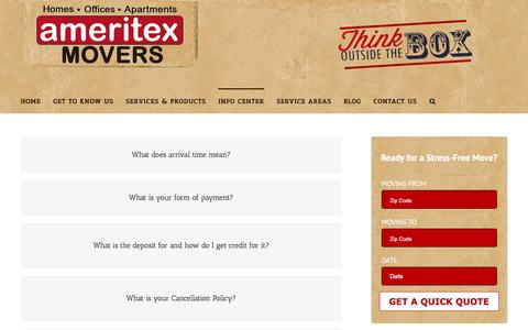 Screenshot of FAQ Page ameritexhouston.com - FAQ   Houston Movers - Houston Moving Companies - Ameritex Movers - captured Feb. 6, 2016
