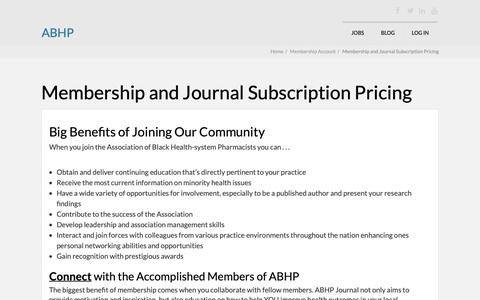 Screenshot of Signup Page myabhp.org - Membership and Journal Subscription Pricing - ABHP - captured Oct. 2, 2018