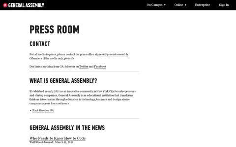 Screenshot of Press Page generalassemb.ly - Press Room | General Assembly - captured July 19, 2014