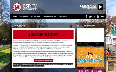 Screenshot of Signup Page csrfm.com - Join CSRfm  CSRfm - captured Nov. 1, 2014