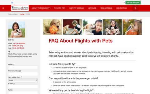Screenshot of FAQ Page terminal4pets.com - FAQ Flight With Pets  | Terminal4Pets - captured Sept. 20, 2018