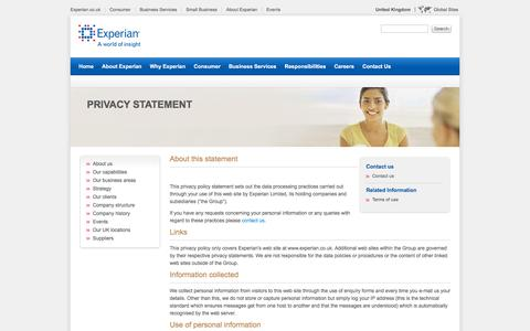 Privacy statement - Experian UK and Ireland