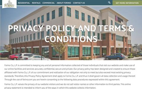 Screenshot of Privacy Page forino.com - Privacy Policy and Terms & Conditions | Forino - captured Feb. 10, 2016