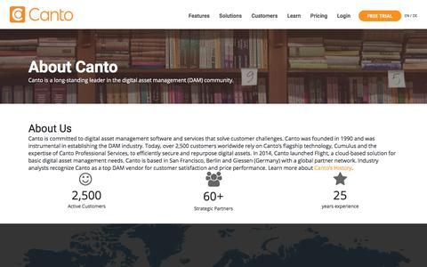 Screenshot of About Page canto.com - About Us |Canto - captured May 23, 2018