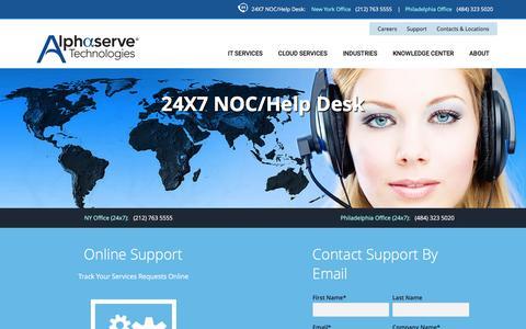 Screenshot of Support Page alphaserveit.com - NOC Help Desk - captured Feb. 1, 2016