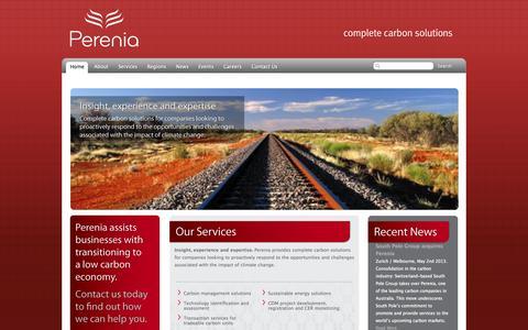 Screenshot of Home Page pereniacarbon.com - Perenia: Complete Carbon Solutions - captured Oct. 2, 2014