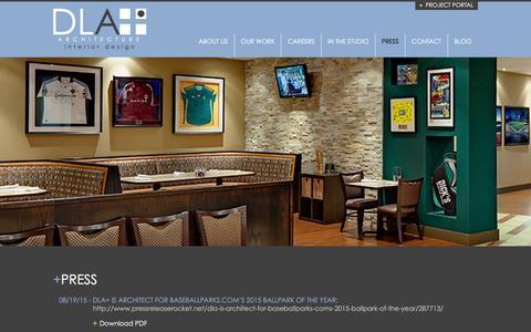 Screenshot of Press Page dlaplus.com - Press | DLA+ Architecture & Interior Design - captured Dec. 16, 2015