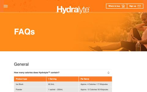 Screenshot of FAQ Page hydralyte.com.au - FAQs - Hydralyte - captured Sept. 28, 2018