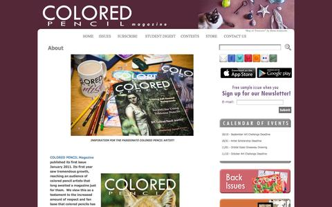 Screenshot of About Page coloredpencilmag.com - About « COLORED PENCIL Magazine - captured Oct. 1, 2014