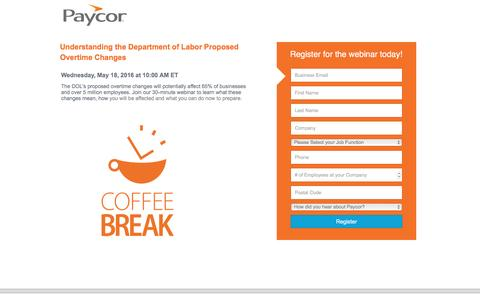 Screenshot of Landing Page paycor.com - Paycor Webinar Registration - captured Oct. 3, 2016