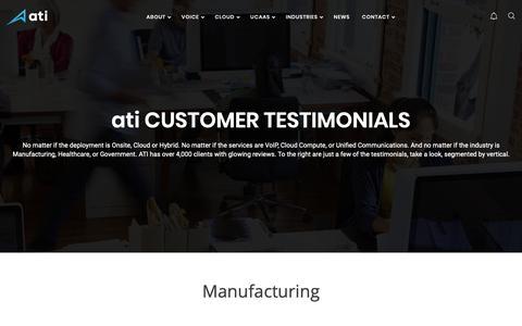 Screenshot of Testimonials Page aticti.com - Testimonials - ATI - captured Oct. 3, 2018