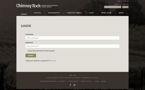 Screenshot of Login Page chimneyrock.com - Chimney Rock - Login - captured April 15, 2016