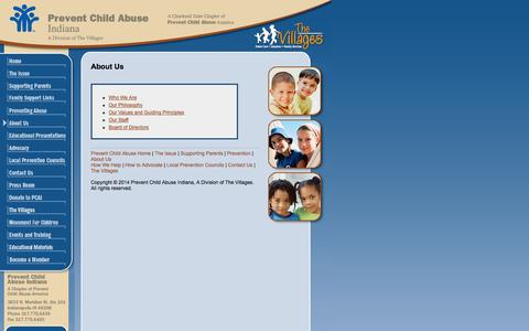 Screenshot of About Page pcain.org - About Us - Prevent Child Abuse in Indiana - captured Oct. 2, 2014