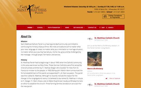 Screenshot of About Page stmatthias-milw.org - About Us – St. Matthias Catholic Parish - captured Feb. 16, 2016