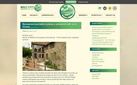 Screenshot of Blog wilddaysconservation.org - Blog | Wild Days Conservation - captured Oct. 1, 2014