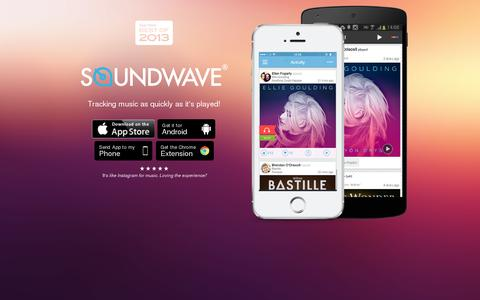 Screenshot of Home Page soundwave.com - Soundwave - tracking music as its played. - captured July 11, 2014