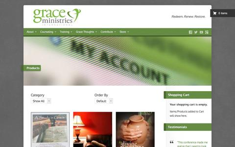 Screenshot of Products Page gmint.org - Products – Grace Ministries International – Discipleship Counseling – Exchanged Life Training - captured Nov. 13, 2016