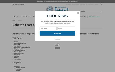 Screenshot of Site Map Page babethsfeast.com - Sitemap - captured May 31, 2017