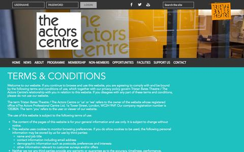 Screenshot of Terms Page actorscentre.co.uk - Terms & Conditions   The Actors Centre - captured Sept. 30, 2014