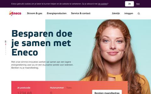 Screenshot of Home Page eneco.nl - Welkom bij Eneco, de duurzame energieleverancier - Eneco - captured Jan. 18, 2018