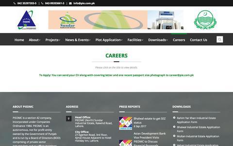Screenshot of Jobs Page pie.com.pk - Careers - PIE - captured Sept. 19, 2017