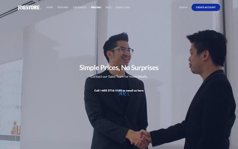 Screenshot of Pricing Page jobstore.com - Pricing Plans on Jobstore Malaysia - captured Oct. 21, 2018
