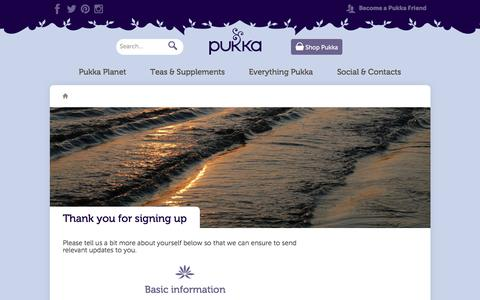 Screenshot of Signup Page pukkaherbs.com - Thank you for signing up | Thank You | Pukka Herbs - captured Dec. 13, 2015