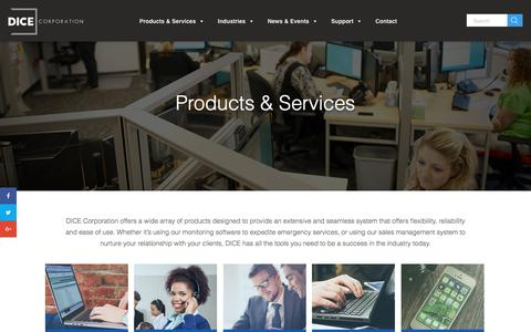 Screenshot of Products Page dicecorp.com - Products & Services - DICE Corporation - captured Nov. 23, 2016