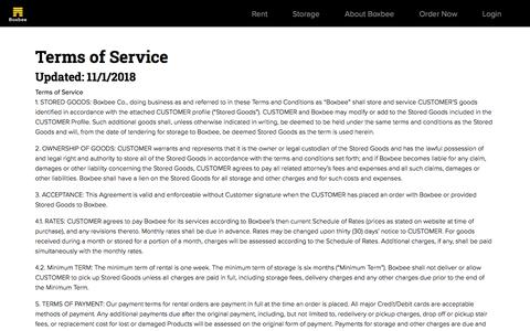 Screenshot of Terms Page boxbee.com - Terms of Service   Moving Boxes, Supplies and Storage   Boxbee - captured Nov. 21, 2019
