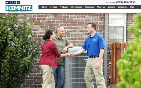 Screenshot of Home Page kemnitzhvac.com - Orange County HVAC | Heating and Cooling | Kemnitz - captured Sept. 25, 2018