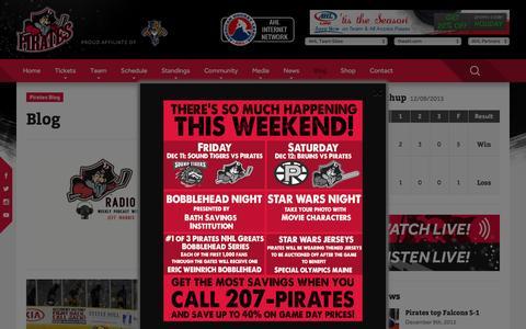 Screenshot of Blog portlandpirates.com - Blog Ľ Portland Pirates - captured Dec. 9, 2015