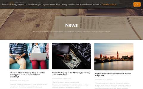 Screenshot of Press Page studenttenant.com - News • StudentTenant.com - captured June 18, 2019