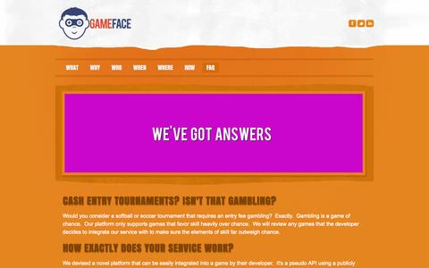 Screenshot of FAQ Page game-face.ca - FAQ - GameFace - real rewards for real skills - captured Sept. 29, 2014