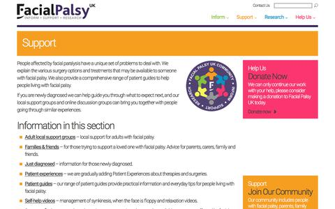 Screenshot of Support Page facialpalsy.org.uk - Support - Facial Palsy UK - captured Oct. 13, 2017