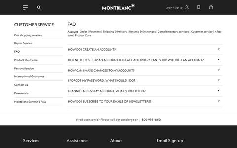 Screenshot of FAQ Page montblanc.com - FAQ - captured Nov. 15, 2018