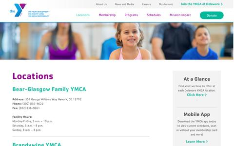 Screenshot of Locations Page Hours Page ymcade.org - Find a YMCA Near You | YMCA of Delaware Locations - captured Jan. 28, 2017