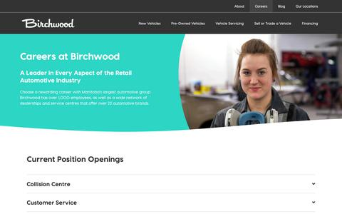 Screenshot of Jobs Page birchwood.ca - Careers | Birchwood Automotive Group - captured July 31, 2019