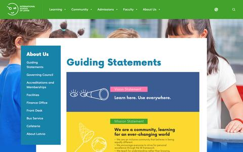 Screenshot of About Page isl.edu.lv - Guiding Statements : About Us :  International School of Latvia - captured Feb. 27, 2017