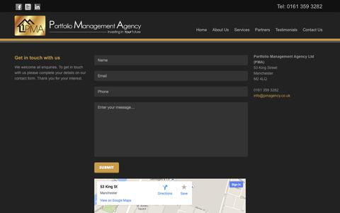 Screenshot of Contact Page pmagency.co.uk - Contact PMA Agency - Portfolio Management Agency Manchester - captured Oct. 27, 2014