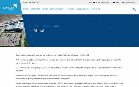 Screenshot of About Page canberraairport.com.au - About - Canberra Airport - captured Nov. 4, 2018