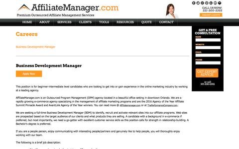 Screenshot of Jobs Page affiliatemanager.com - Affiliate Manager | Affiliate Manager Jobs - captured June 29, 2017