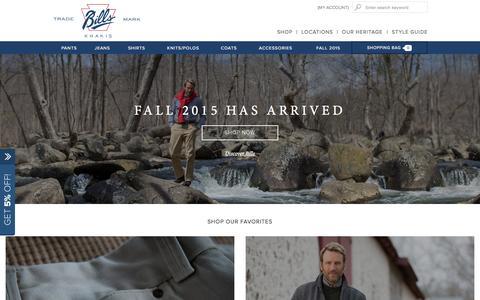 Screenshot of Home Page billskhakis.com - American Made Men's Clothing | Bills Khakis - captured Oct. 1, 2015