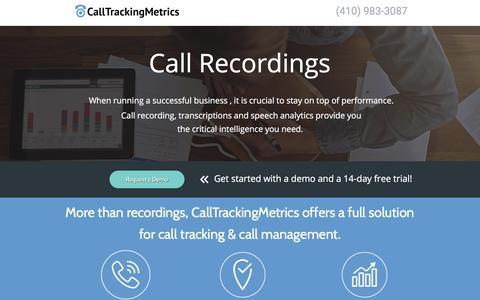 Screenshot of Landing Page calltrackingmetrics.com - Advertising Call Tracking Service For Businesses and Agencies - captured Sept. 7, 2017
