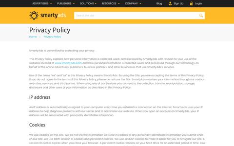 Screenshot of Privacy Page smartyads.com - Privacy Policy — SmartyAds - captured May 31, 2017