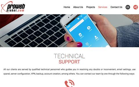Screenshot of Support Page prowebglobal.com - Proweb Global | Technical Support - captured Dec. 13, 2015